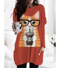 camicetta manica lunga o-collo con stampa lovely cat con tasca