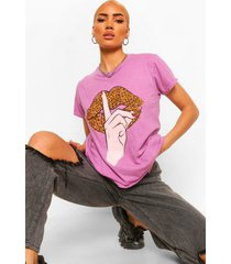 washed leopard lips t-shirt, mauve
