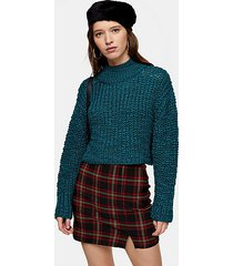 teal boucle cropped knitted sweater - teal
