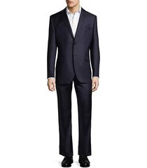 classic fit two-piece stripe wool suit