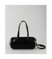bolsa feminina cilindro média com alça removível preta