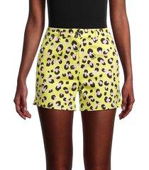 love moschino women's neon leopard shorts - yellow - size 38 (4)