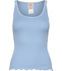 cotton top regular w/ lace t-shirts & tops sleeveless blå barbara kristoffersen by rosemunde