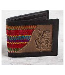 men's wool accent leather wallet, 'red caballero' (peru)