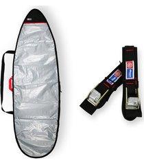 capa prancha surf refletiva acolchoada 6'4 a 6'7 + fita rack 5m - maori extreme