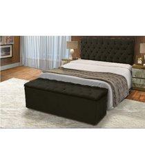 cabeceira mais calçadeira baú solteiro 90cm para cama box sofia corino preto - ds móveis