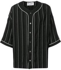 etudes pinstriped baseball shirt - black