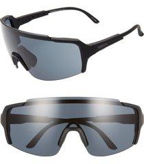 women's smith flywheel 160mm chromapop(tm) shield sunglasses - matte deep ink/ blue
