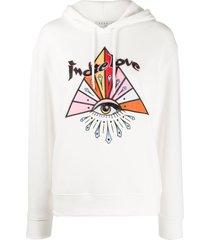 sandro paris indie love embellished hoodie - white