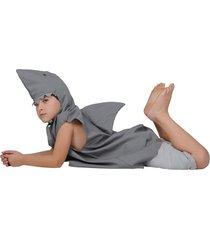 fantasia infantil - bichos de pano  tubarão p - menino - 35 x 47 cm - cinza