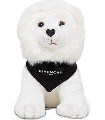 givenchy lion whitetoy with logoed bandana