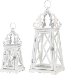 glitzhome set of 2 wash white farmhouse modern wooden lanterns with 3d metal lace top