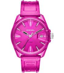 diesel unisex ms9 pink transparent polyurethane strap watch 44mm