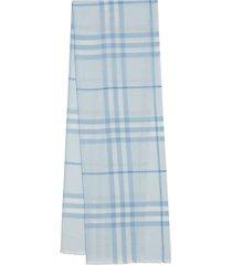 light blue check print scarf