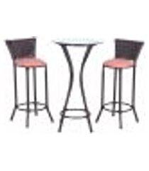 conjunto bistrô mesa alta e 2 banquetas moscou tabaco a15 para cozinha edicula bar varanda