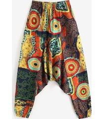 allover patterned oriental harem pants
