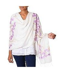 silk blend shawl, 'purple plum blossoms' (india)