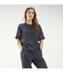 tommy hilfiger women's short-sleeve stripe top blazer stripe / sky captain - 4