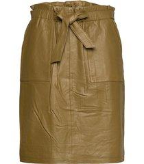 mirabella leather skirt knälång kjol grön minus