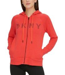 dkny sport striped logo zip hoodie