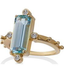 jessie western 18k gold ring with aquamarine and diamond - blue