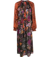 f.r.s for restless sleepers drawstring floral dress - brown