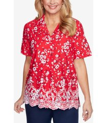 alfred dunner petite anchor's away tossed floral eyelet shirt