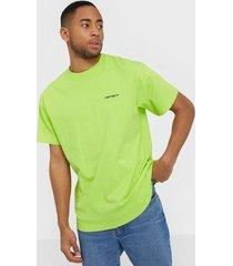 carhartt wip s/s script embroidery t-shirt t-shirts & linnen lime