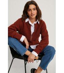 na-kd reborn stickad tröja med dragkedja fram - red
