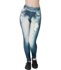 calça legging diluxo jeans fake azul