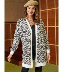 yoins abrigo de manga larga de leopardo blanco