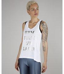 """regata feminina """"gym first gin later"""" esportiva ace decote nadador branca"""