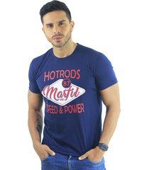 camiseta hombre manga corta slim fit azul marfil hotrods