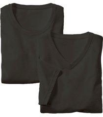 dubbelpak heren-shirts met v- en ronde hals, zwart l