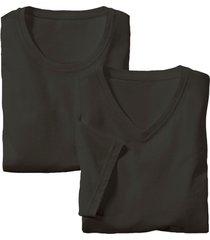 dubbelpak heren-shirts met v- en ronde hals, schwarz m