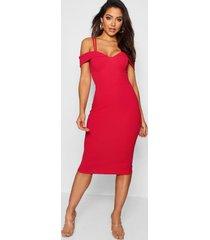 midi jurk met bandjes en uitgesneden schouders, rood