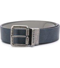 diesel textured leather belt - blue
