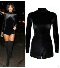 new womans polo turtle neck celeb inspired rihan velvet velour playsuit dress u.