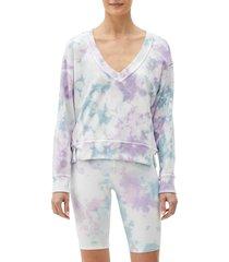 women's michael stars camila v-neck crop sweatshirt, size large - purple