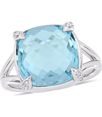 blue topaz (9 ct.t.w.) and white topaz (1/20 ct.t.w.) split shank cocktail ring in sterling silver