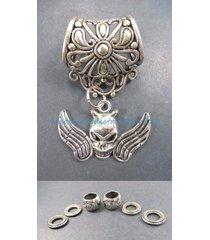 us seller-skull angel pendant slider scarf ring charm necklace