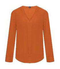 camisa feminina decote v - marrom