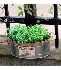 2pcs retro mini cubo cubo de hierro barriles de metal arte floral pot, tamaño mediano