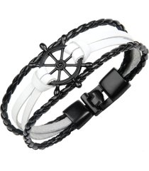 braccialetto d'avanguardia del braccialetto del braccialetto braccialetto del polsino della treccia di wave del multistrato di timore gioielli etnici per gli uomini