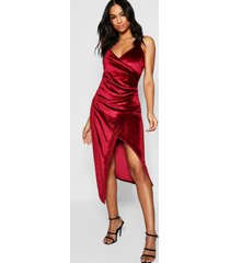 tall velvet wrap midi dress, berry