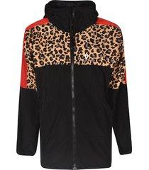 marcelo burlon leopard detail zipped jacket