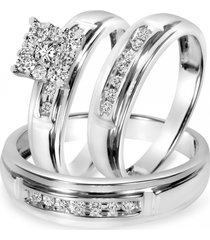 1.50 ct diamond 14k white gold fn 925 his & her engagement bridal trio ring set