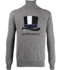 viktor & rolf hat appliqué rib-trimmed jumper - grey