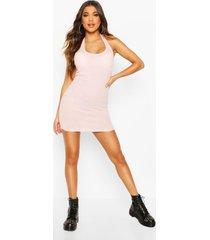 geborstelde mini jurk met laag decolleté en halter neck, pink