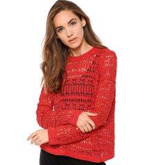 sweater calado con espalda cruzada coral 7.5 setepontocinco